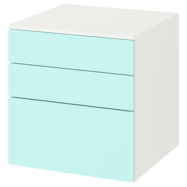 SMÅSTAD / PLATSA Chest of 3 drawers, white/pale turquoise, 60x57x63 cm
