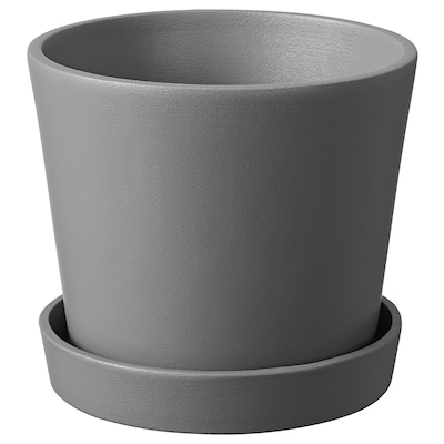 SMULGUBBE Plant pot and saucer, concrete effect grey/outdoor, 12 cm