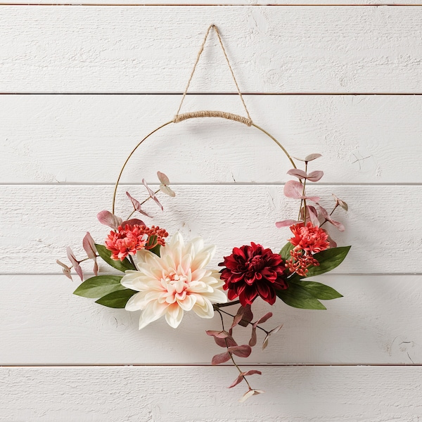 SMYCKA Artificial wreath, in/outdoor Dahlia, 40 cm