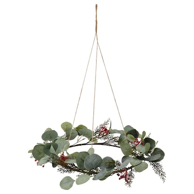 SMYCKA Artificial wreath, in/outdoor eucalyptus, 46 cm