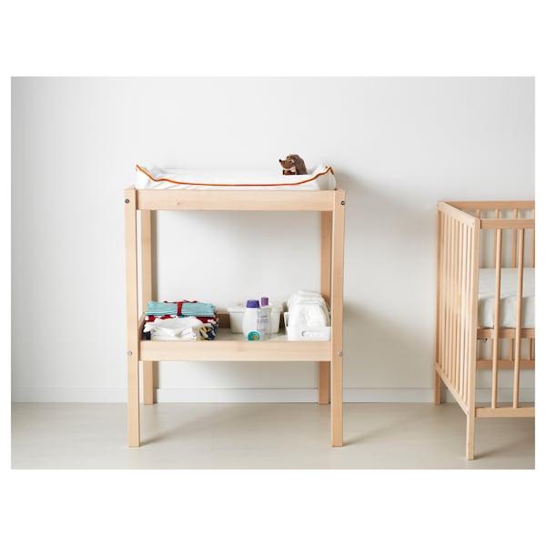 SNIGLAR changing table beech/white 72 cm 53 cm 88 cm 11 kg