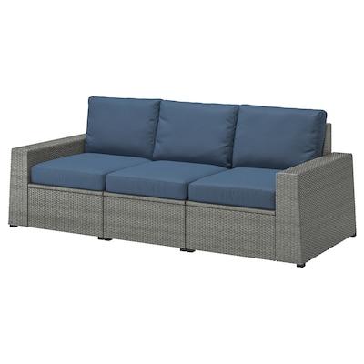 SOLLERÖN 3-seat modular sofa, outdoor, dark grey/Frösön/Duvholmen blue, 223x82x88 cm