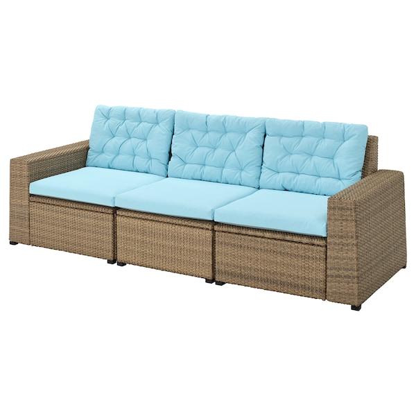 SOLLERÖN 3-seat modular sofa, outdoor brown/Kuddarna light blue 223 cm 82 cm 84 cm 187 cm 56 cm 40 cm