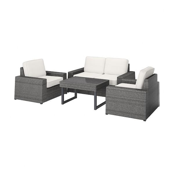 SOLLERÖN 4-seat conversation set, outdoor dark grey/Järpön/Duvholmen white