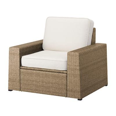 SOLLERÖN Armchair, outdoor, brown/Järpön/Duvholmen white