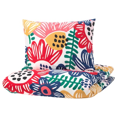 SOMMARASTER Quilt cover and pillowcase, white/multicolour, 150x200/50x60 cm