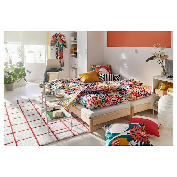 SOMMARASTER Quilt cover and pillowcase, white/multicolour, 150x200/50x60 cm