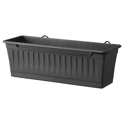 SOMMARFEST Flower box with holder, in/outdoor anthracite, 50x20 cm