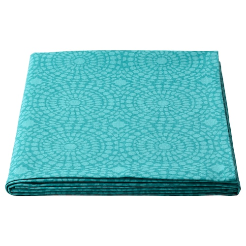 SOMMARLIV tablecloth patterned/turquoise 145 cm 145 cm