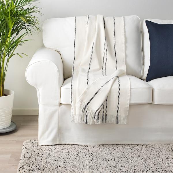 STINAMAJ Throw, white/dark grey, 130x170 cm