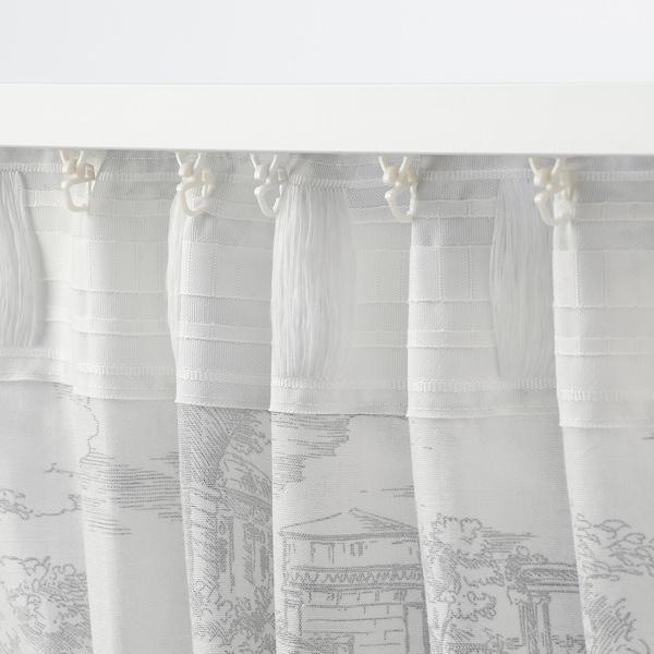STJÄRNRAMS Curtains, 1 pair, white/grey, 145x250 cm