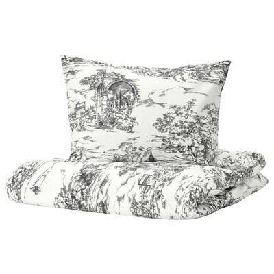 STJÄRNRAMS Quilt cover and pillowcase, white/grey, 150x200/50x60 cm