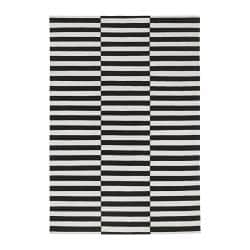 Stockholm Rug Flatwoven Black Stripe Handmade Striped Off White