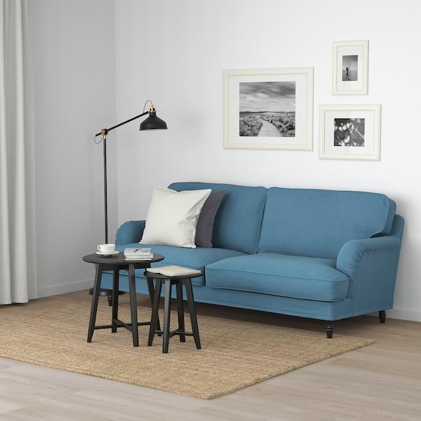 STOCKSUND 3-seat sofa, Ljungen blue/black/wood