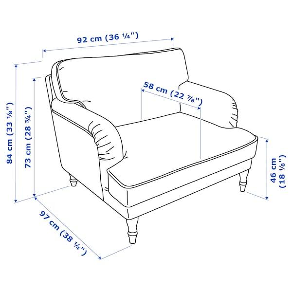 STOCKSUND Armchair, Ljungen blue/light brown/wood