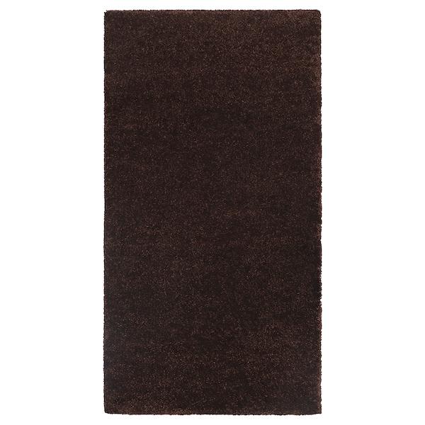 STOENSE Rug, low pile, dark brown, 80x150 cm