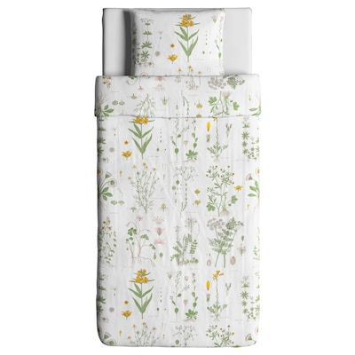 STRANDKRYPA Quilt cover and pillowcase, floral patterned/white, 150x200/50x60 cm