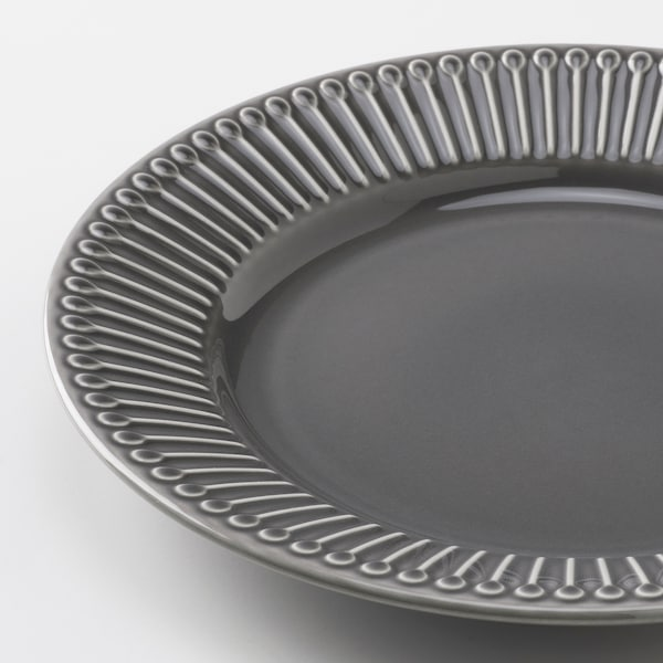STRIMMIG Side plate, stoneware grey, 21 cm