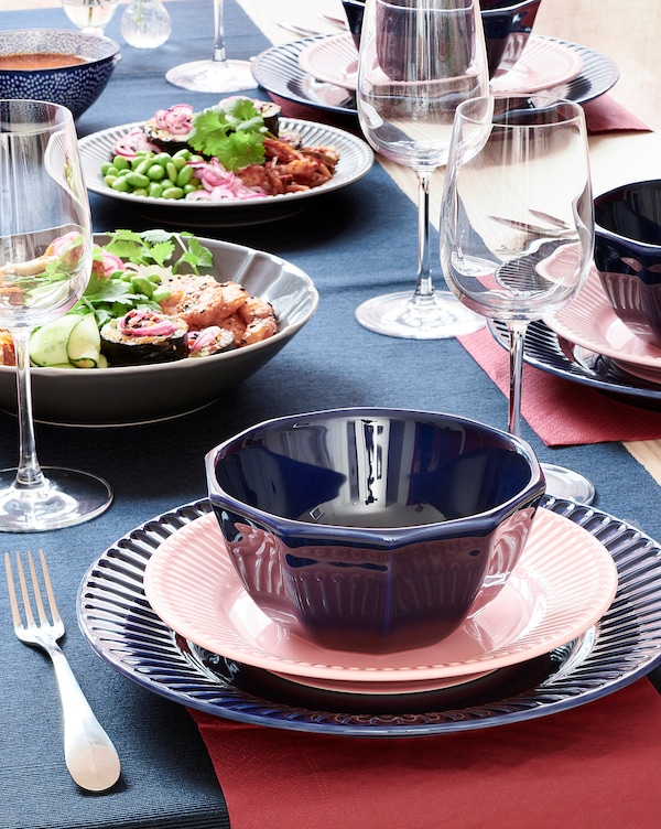 STRIMMIG Side plate, stoneware pink, 21 cm