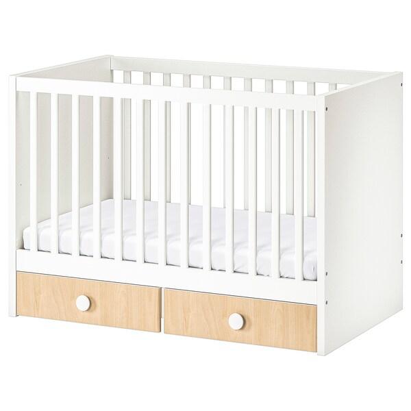 STUVA / FÖLJA cot with drawers white/birch 60 cm 120 cm