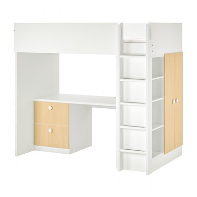 STUVA / FÖLJA Loft bed combo w 2 drawer/2 doors, white/birch, 207x99x182 cm