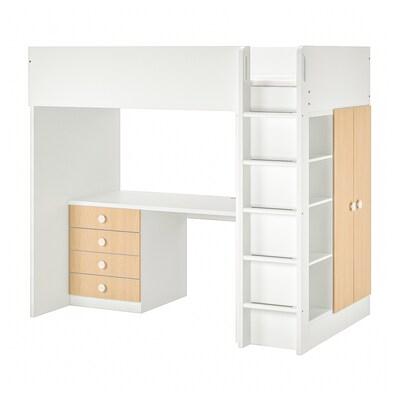 STUVA / FÖLJA Loft bed combo w 4 drawers/2 doors, white/birch, 207x99x182 cm