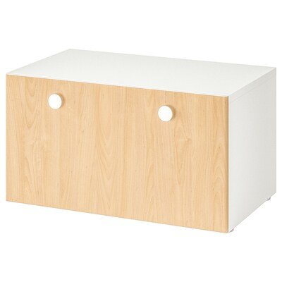 STUVA / FÖLJA Storage bench, white/birch, 90x50x50 cm