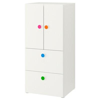 STUVA / FÖLJA Storage combination w doors/drawers, white, 60x50x128 cm