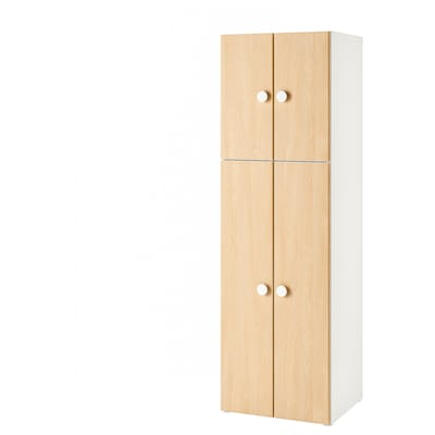 STUVA / FÖLJA Wardrobe with 4 doors, white/birch, 60x50x192 cm