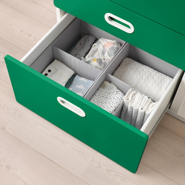 STUVA / FRITIDS Changing table with drawers, white/green, 90x79x102 cm