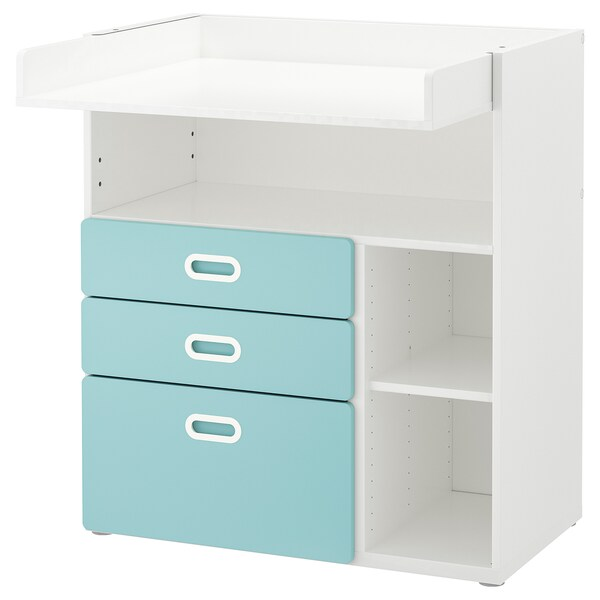STUVA / FRITIDS Changing table with drawers, white/light blue, 90x79x102 cm