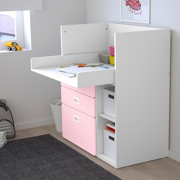 STUVA / FRITIDS Changing table with drawers, white/light pink, 90x79x102 cm