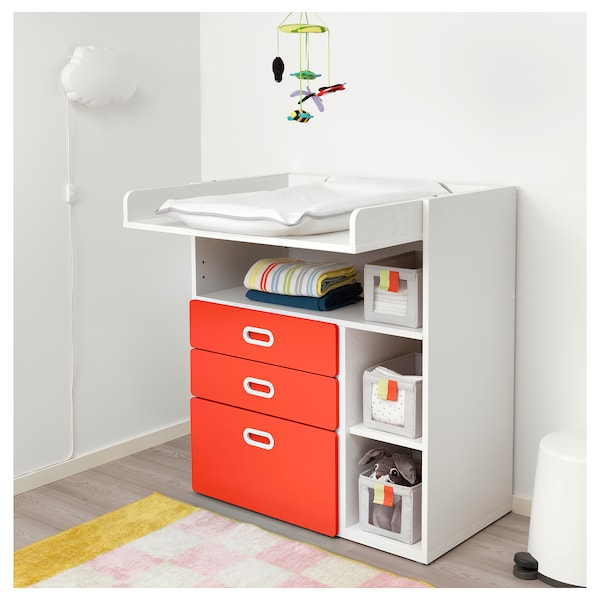 STUVA / FRITIDS Changing table with drawers, white/red, 90x79x102 cm