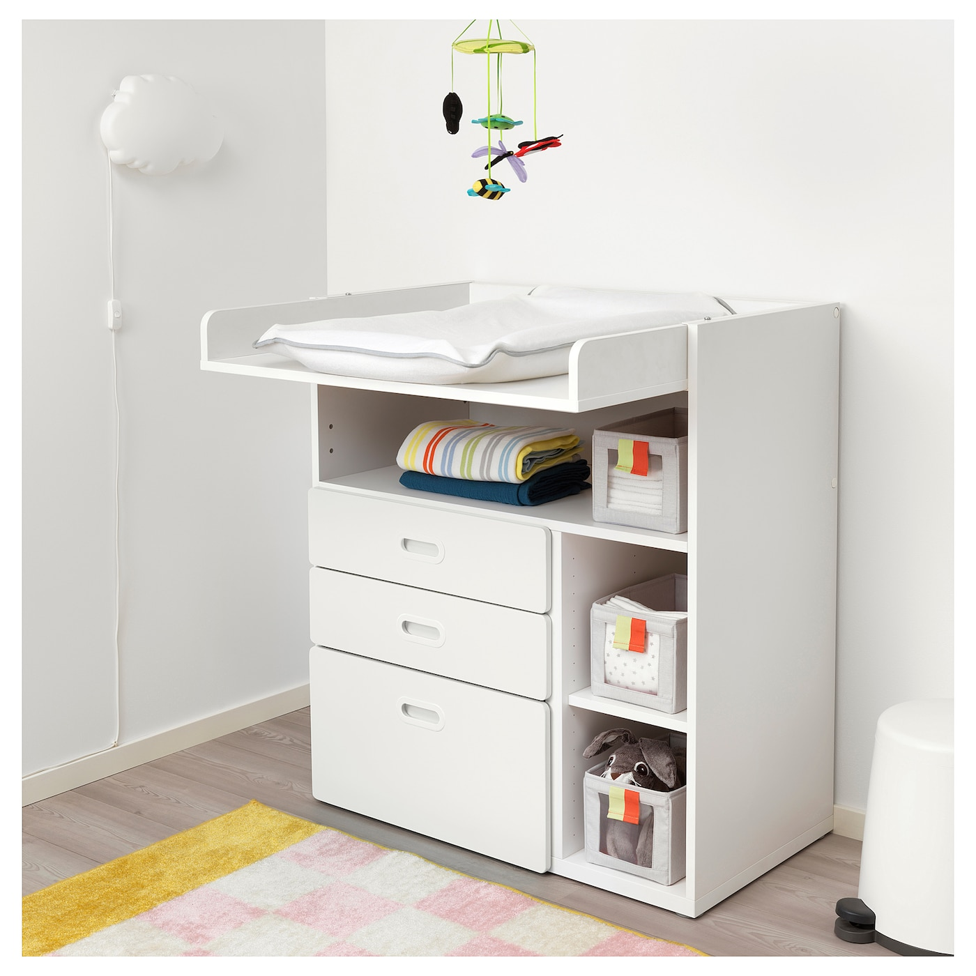 STUVA / FRITIDS Changing table with drawers, white/white, 90x79x102 cm