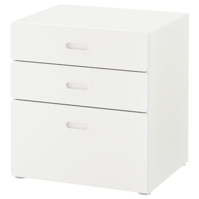 STUVA / FRITIDS Chest of 3 drawers, white/white, 60x64 cm