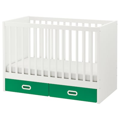 STUVA / FRITIDS Cot with drawers, green, 60x120 cm