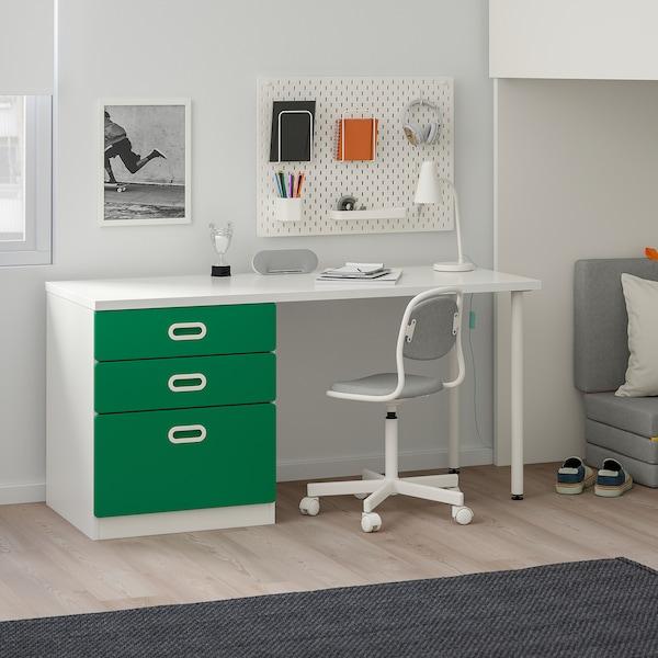 STUVA / FRITIDS Loft bed combo w 3 drawers/2 doors, white/green, 207x99x182 cm
