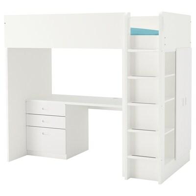 STUVA / FRITIDS Loft bed combo w 3 drawers/2 doors, white/white, 207x99x182 cm