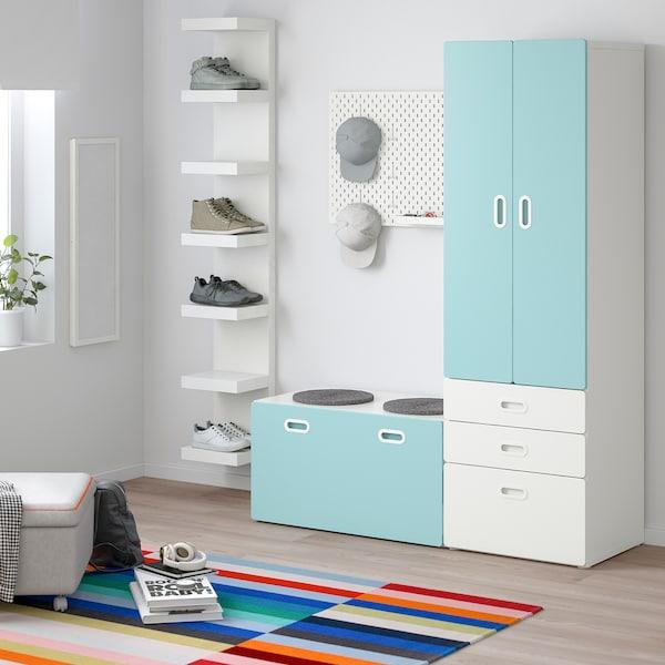 STUVA / FRITIDS wardrobe with storage bench white/light blue 150 cm 50 cm 192 cm