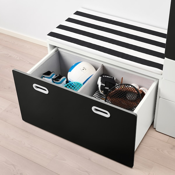 STUVA / FRITIDS wardrobe with storage bench white/blackboard surface 150 cm 50 cm 192 cm