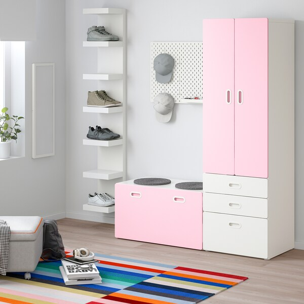 STUVA / FRITIDS wardrobe with storage bench white/light pink 150 cm 50 cm 192 cm