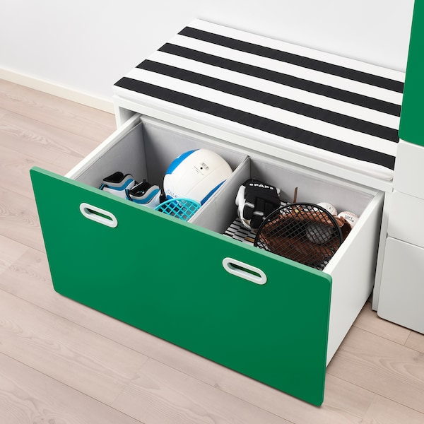 STUVA / FRITIDS wardrobe with storage bench white/green 150 cm 50 cm 192 cm