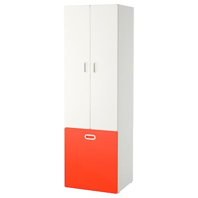 STUVA / FRITIDS Wardrobe with toy storage, white/red, 60x50x192 cm