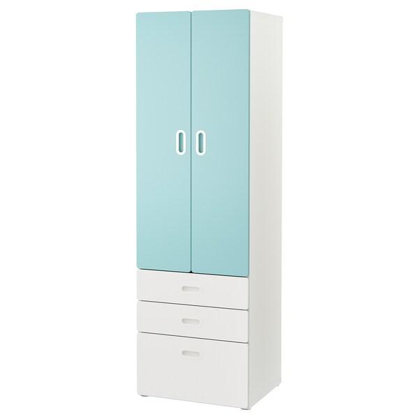 STUVA / FRITIDS wardrobe white/light blue 60 cm 50 cm 192 cm