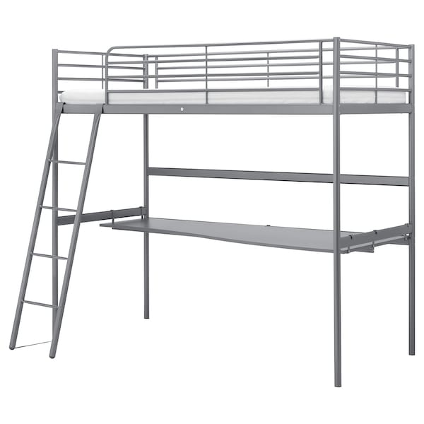 SVÄRTA Loft bed frame with desk top, silver-colour, 90x200 cm