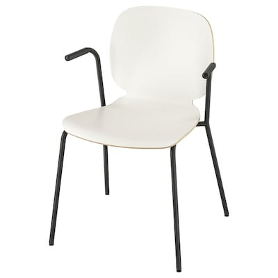 SVENBERTIL Chair with armrests, white/Dietmar black