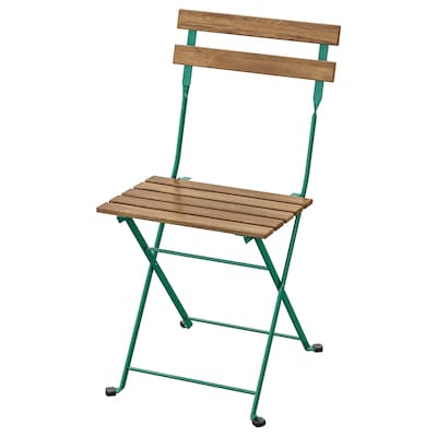 TÄRNÖ Chair, outdoor, foldable/dark green light brown stained