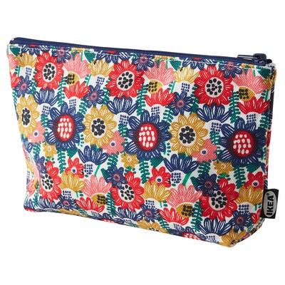TJEJEN Accessory bag, white/multicolour flower, 24x14 cm