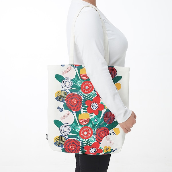 TJEJEN Tote bag, white/multicolour flower