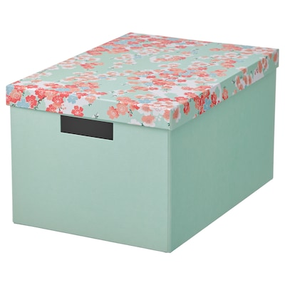 TJENA Storage box with lid, flower/light green, 25x35x20 cm